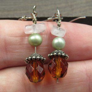 Sterling Silver Crystal Pearl & Quartz Earrings